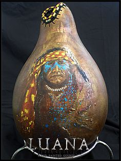 Painted Warrior Hand Painted Gourd by Luana by LuanasPaintedGourds, $400.00