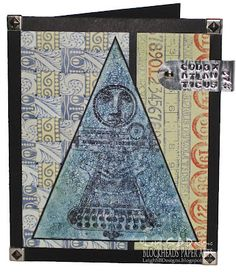 "Leigh S-B Designs: ""Codex Atlanticus - Artifact #42"" Art Card featuring Paper Weaved Border stamps by Lost Coast Designs"
