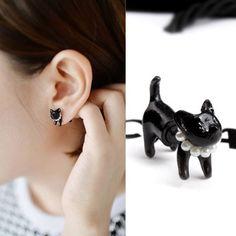 Cute Kitten Pearl Earring Studs|Earrings Studs - Jewelry&Accessories|ByGoods.com