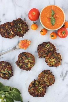 Grain-free Zucchini Fritters with Roasted Garlic and Heirloom Tomato Compote // Tasty Yummies #paleo #glutenfree #vegetarian