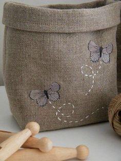 Par un beau matin d'hiver ... la boutique butterfli, burlap bags, burlap basket, linen