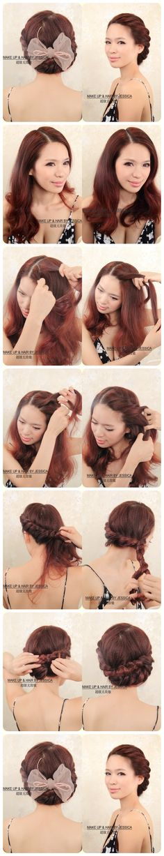 french braids, bow tutorial, hair colors, vintage hair, huge bow, big bows, retro hairstyles, hairstyles for second day hair, braid twist