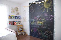 Genius idea for a kid's room: Chalkboard wall!