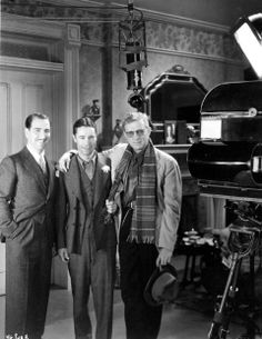 On a visit to the set of A Very Honorable Guy, Enrico Caruso Jr. poses with Joe E. Brown and director Lloyd Bacon 1934