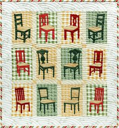 """Reserved Seating, 28 x 30"""", pattern by Janet Locey at Hen Scratch Quilting chair, quilt, pattern, hen"""