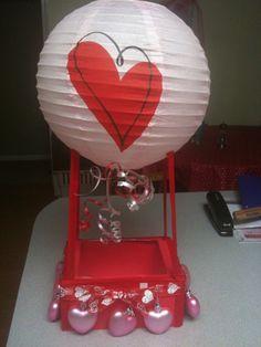 Hot air balloon valentine box - such an original idea!!! table decorations, valentine box, schools, valentin box, valentine day, balloon valentin, kids, hot air balloons, mail boxes