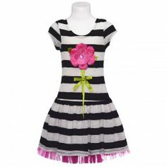 Darling black stripe drop waisted dress by Bonnie Jean will be perfect for your little girl.  Dress is fully lined, slips over head for easy...