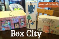 Are you stuck inside because of the weather? This will eat up some time and use some imagination! box city #recycle #reuse #repurpose