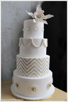 Elegant Chevron Cake by Beyond Buttercream  |  TheCakeBlog.com
