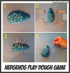Your Therapy Source: Hedgehog Play Dough Game-Learn how to play this visual motor/visual memory game. Pinned by SOS Inc. Resources. Follow all our boards at pinterest.com/sostherapy for therapy resources.