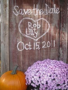 my save the dates! : wedding barn brown diy engagement fall gold homemade inspiration invitations mums orange purple rustic yellow This Is The One wedding-ideas