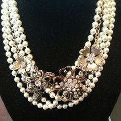 Premier Designs Opening Night pearls layered with Lavish Blooms