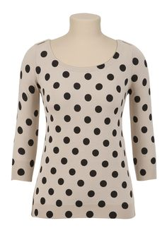 3/4 Sleeve Dot Print Pullover Sweater - maurices.com