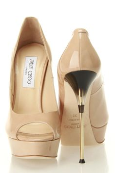 Jimmy Choo Tea Patent Leather Pumps In Nude - Beyond the Rack