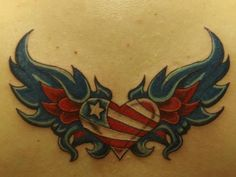 So much better if it was a Texas Tattoo. This is so badass. :) tattoo idea, flag, tribal tattoos, star tattoos, red white blue, red roses, tattoo design, wing tattoos, heart tattoos