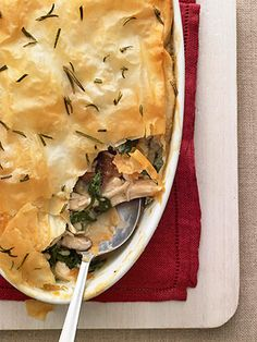 chicken spinach pie with mushrooms