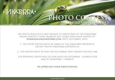 Fancy yourself a photographer? Our Inkaterra photo contest could be just the chance to showcase your skills. If you've stayed at one of our Inkaterra properties or experienced any trip with us, we invite you to share your photography for a chance of winning the Inkaterra photo contest for the third quarter of 2013