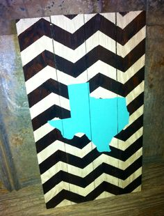 """Hand crafted sign made of 4 wooden boards - painted off white & stained wood chevron with turquoise state of Texas - 13.5"""" x 24"""" on Etsy, $35.00"""