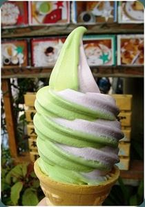 Green tea and taro ice cream