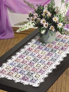 crocheted dappled blossoms table runner-free pattern download