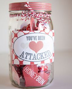Homemade Valentines Day Gifts in a Jar - Heart Attack - DIY Valentines Day Ideas