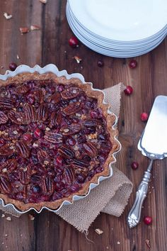 We've mashed up two of our favorite holiday dishes to come up with this Pecan Cranberry Pie. It's sweetened mostly with maple syrup for the perfect sweet finish. Wonderful with vanilla bean ice cream!