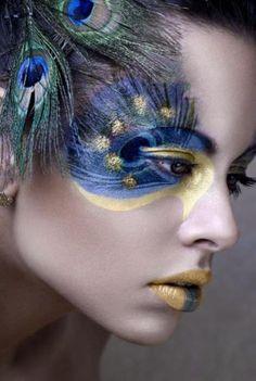 peacock feathers, eye makeup, halloween costumes, blue, makeup art, mask, face art, mardi gras, makeup idea
