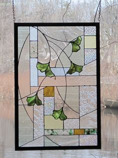 Arts and Crafts Style Stained Glass Gingko Leaf Panel