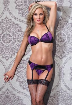 royal purple lingerie with stockings