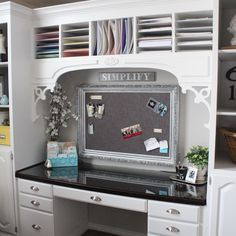 Used furniture, painted white and unifed with custom trim create a high-end look on a budget for this reader's home-office remodel. | thisoldhouse.com/yourTOH