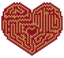 A-Mazing Love Pattern by Elizabeth Ann Scarborough at Bead-Patterns.com bead stuff, bead pattern, patterns, heart, shops, amaz, maze, bead design