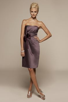 satin dress, shades of purple, color, bridesmaid dresses, strapless satin, the dress, bow, gown dresses, bridesmaid gowns
