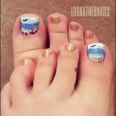 Beach themed toe nail art (inspired by a One Nail to Rule Them All set) by LookAtHerNails