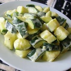 "One pinner said-Cream Cheesy Cubed Zucchini with Lemon and Oregano | ""I've tried this yummy dish twice. This time, I used more lemon zest and some lemon juice. Will make it over and over."""