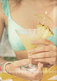 pineapple cocktail #tropical #aqua #camillestyles