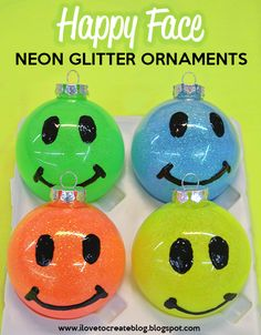 Happy Face Neon Glitter Holiday Ornaments