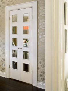 I LOVE these how they mirrored boring bi-fold closet doors.  Too bad I don't have any bi-fold doors.