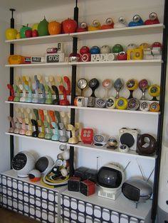 Weltron Radio, Valenti Hebi Lamps, Brionvega Cube Radio, JVC Space Helmet TV, Panasonic Vintage TV, Ericofon, Siemens Quadrifoglio Radio, Blessing Clocks, Panapet Panasonic, Toot a Loop Panasonic, Brac Ball Clock