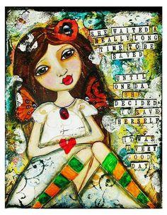 one day, inner strength, victoria secrets, mixedmedia, journal art