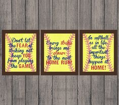 INSTANT DOWNLOAD, Softball Quotes, High School, Sports, Home Run, Girl, Vintage, Decor, Softball, Set of 3 Printable 8x10, Wall Print JPEG