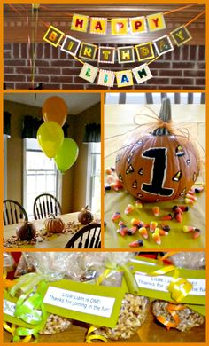 Pumpkin Themed First Birthday Party themed birthday parties, birthday idea, pumpkin themed birthday, 1st birthday, pumpkin theme birthday party, painted pumpkins, first birthdays, pumpkin themed first birthday