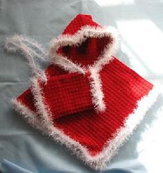 Child's Red Hooded Poncho with Red Fur Trim  Matching Muff Crochet Pattern