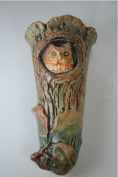 Weller Pottery owl wall pocket