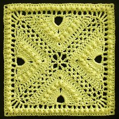 "Day 15: 12"" Block of the Day - Bee Hives and Clover Afghan Block by Joyce Lewis  Free Pattern: http://www.ravelry.com/patterns/library/bee-hives-and-clover-afghan-block   #TheCrochetLounge #12inch #grannysquare Pick #crochet"