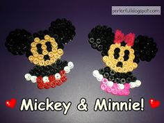 ♥ Love The Amusement Park :) craft, mickey mouse, minnie mouse perler beads, amusement parks, amus park, hama bead, hamabead, minni mous, perler beads ornaments