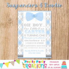 SUSPENDERS and BOWTIE invitation  You by PrettyPartyCreations, $11.50
