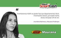 """Doamna Ana Maria Marinescu, administratorul companiei MAURANA PRODIMPEX SRL, sursa importanta de aprovizionare pentru comerciantii din Bucuresti si imprejurimi, declara ca """"Inventarierea marfii se poate face pe departamentul dorit. Inventarele clasice, pe toata marfa, durau cel putin 24 de ore"""". Da, cam asa merg lucrurile cu #software-ul pentru #retail #SmartCash :)"""