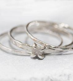 Natural diamond silver ring