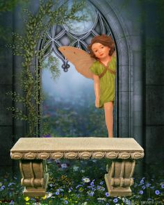 A fairy looks out at a garden bench in the mini fairy garden.