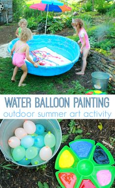 Giant Abstract Art: Gross Motor Painting for Kids *water balloon painting in pool. adding this to my summer bucket list. kids learning, kiddie pool, pool list, painting for kids, paint for kids, paints for kids, water balloon, kid water, balloon paint